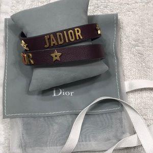 Dior jadior leather bracelet in burgundy